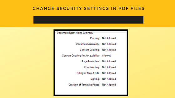change security in PDF files