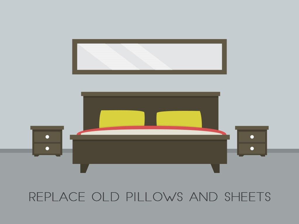 outdated pillows and sheets