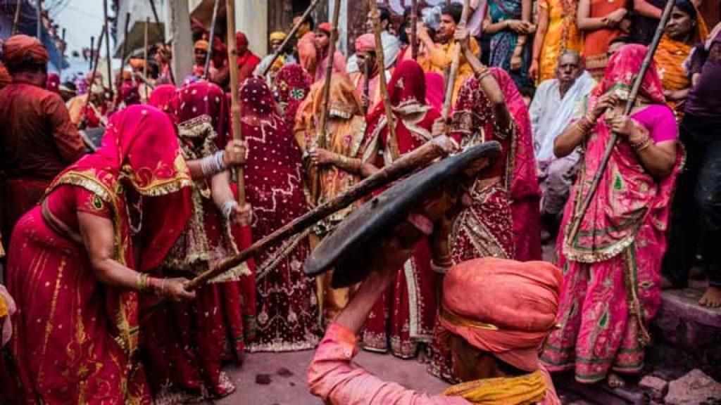 Holi celebration in Barsana