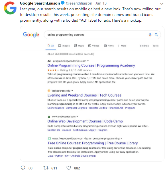 Changes the Look of Paid and Organic Search Results on Desktop